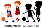 two boys playing basketball... | Shutterstock .eps vector #610023440