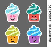 set of cupcake emojis icons.... | Shutterstock .eps vector #610026710