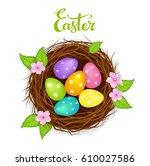 easter birds nest with... | Shutterstock .eps vector #610027586