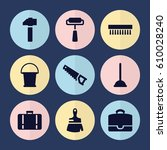 set of 9 handle filled icons... | Shutterstock .eps vector #610028240