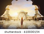 malaysia mosque with muslim...   Shutterstock . vector #610030154