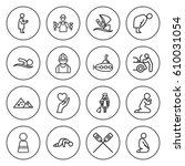 set of 16 people outline icons... | Shutterstock .eps vector #610031054