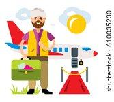 vector airport. landing on the...   Shutterstock .eps vector #610035230