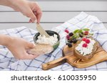 woman taking organic farming... | Shutterstock . vector #610035950