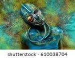 ufo alien girl with unusual...   Shutterstock . vector #610038704
