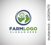 farm logo template with house... | Shutterstock .eps vector #610039670