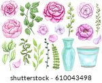 set of hand drawn watercolor... | Shutterstock . vector #610043498