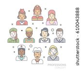 linear flat people faces and... | Shutterstock .eps vector #610043888