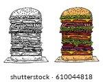 Hand Drawn Tall Beef Burger ...
