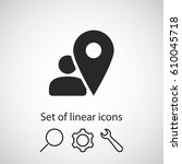map pointer user sign icon. one ...   Shutterstock .eps vector #610045718