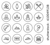 set of 16 people outline icons... | Shutterstock .eps vector #610049138