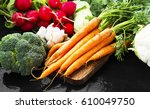 fresh organic vegetables bowl... | Shutterstock . vector #610049750