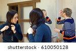 two beautiful girl friends...   Shutterstock . vector #610050128