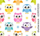 Pattern With Cute Colorful Owl...