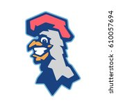 cheerful rooster mascot  team...   Shutterstock .eps vector #610057694
