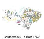 cartoon map of ecuador and...   Shutterstock .eps vector #610057760