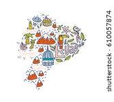 cartoon map of ecuador   hand...   Shutterstock .eps vector #610057874
