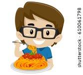 vector illustration of kid boy... | Shutterstock .eps vector #610061798