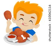vector illustration of kid boy... | Shutterstock .eps vector #610062116