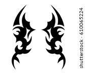 tattoo sketch tribal vector... | Shutterstock .eps vector #610065224