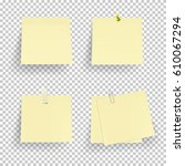 set of note paper with pin ... | Shutterstock .eps vector #610067294