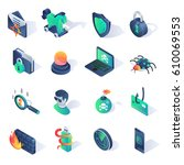 cyber security isometric flat... | Shutterstock .eps vector #610069553