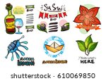 set of social icons in hand... | Shutterstock .eps vector #610069850