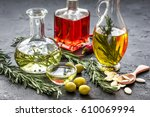 oil in carafe with spices ... | Shutterstock . vector #610069994