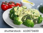 white plate of delicious... | Shutterstock . vector #610073600