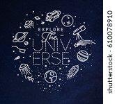 space flat monogram lettering... | Shutterstock .eps vector #610078910