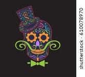 skull vector gentleman with... | Shutterstock .eps vector #610078970
