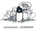 graffiti doodle art. vector...   Shutterstock .eps vector #610080404