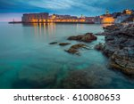 dubrovnik  croatia. beautiful... | Shutterstock . vector #610080653