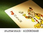 Joker Playing Card On Green...