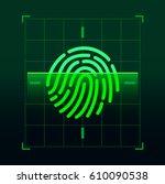 set of fingerprint vector flat... | Shutterstock .eps vector #610090538