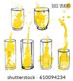 juice splashes in glasses  hand ... | Shutterstock .eps vector #610094234