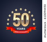 50 years anniversary vector... | Shutterstock .eps vector #610094450
