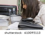 portrait of a stressed... | Shutterstock . vector #610095113