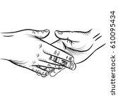 businessman giving a bribe.... | Shutterstock .eps vector #610095434