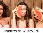 three young cute funny girls... | Shutterstock . vector #610097228