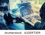 laptop pc and internet of...   Shutterstock . vector #610097309