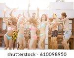 group of best friends having... | Shutterstock . vector #610098950