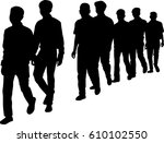 full length of silhouette... | Shutterstock .eps vector #610102550
