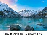 beautiful hooker lake with... | Shutterstock . vector #610104578