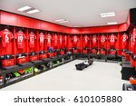 athletic dressing rooms team... | Shutterstock . vector #610105880