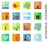 irrigation equipment icons set... | Shutterstock .eps vector #610106300