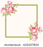 decorative green frame with... | Shutterstock .eps vector #610107824