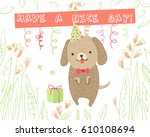 cute dog on white background... | Shutterstock .eps vector #610108694