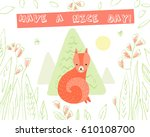 cute fox in the woods on white... | Shutterstock .eps vector #610108700