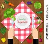 fresh organic food. set of... | Shutterstock . vector #610109678